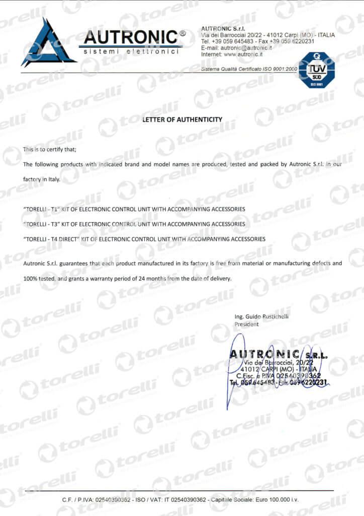 Сертификат Autronic