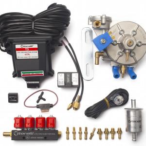 Мини-комплект ГБО 4 поколения Torelli T3 Pro (редуктор Torelli Taurus, форсунки Torelli, фильтр, датчик уровня топлива AEB1090)
