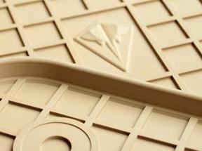 Комплект резиновых ковриков в салон автомобиля Audi Q7 2015- бежевые