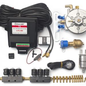 Мини-комплект ГБО 4 поколения Torelli T3 Pro OBD 6 цилиндров, редуктор Torelli Aries, форсунки Torelli, газовый клапан, реверс, фильтр, датчик уровня топлива AEB1090
