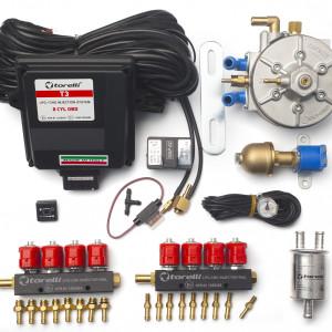 Мини-комплект ГБО 4 поколения Torelli T3 Pro OBD 8 цилиндров, редуктор Torelli Aries Super, форсунки Torelli, газовый клапан, реверс, фильтр, датчик уровня топлива AEB1090