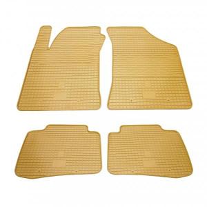 Комплект резиновых ковриков в салон автомобиля Kia Cerato I бежевые (2010044)
