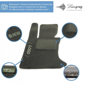 Комплект ворсовых ковриков Stingray Fortuna Black/Grey в салон автомобиля VOLKSWAGEN / SHARAN / 2000- / FL+FR+RU (42224183)